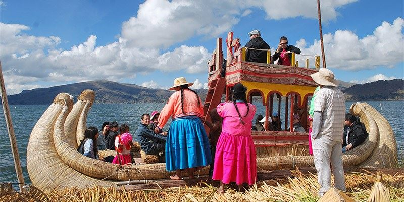People at lake titicaca