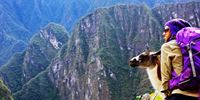 LLAMA AND TOURIST -  TOURS BY BUS TO MACHU PICCHU